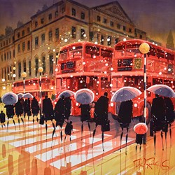 Crossing Reflections, London by Peter J Rodgers - Original Painting on Paper sized 20x20 inches. Available from Whitewall Galleries